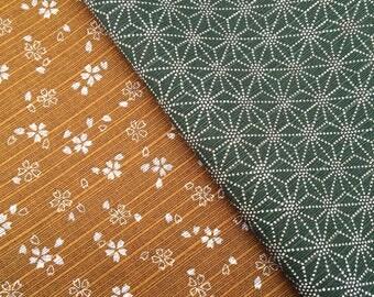 Bronze & Green Sevenberry Double Sided Sakura Cherry Blossom and Asanoha Star Japanese dobby cotton fabric
