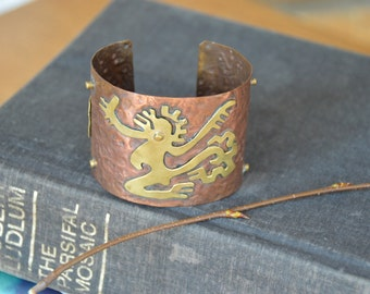 Rare Vintage Mexican Copper and Brass Cuff Bracelet