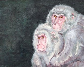 Japanese Snow Monkeys Original Watercolor Painting by Terri Nelson