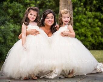 Ivory Flower Girl Tutu Dress, Toddler Tutu Dress, Girls Flower Girl Dress, Baby tutu dress Custom DESIGN YOUR OWN