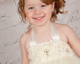 Ivory Tutu Dress Flower Girl Toddler Baby Flowers Birthday