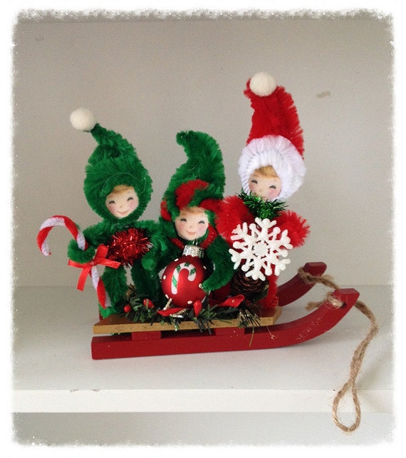Christmas Decorations Chenille Children On A Sled