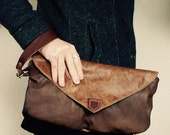 SAMPLE///Mini Oxford Wristlet with Flap in Mixed Brown Leather Wristlet//Clutch// Pouch