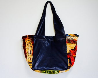 SAMPLE//Josephone Tote in Slouchy Black Leather with Vintage Italian Carpet