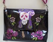 Metalflake vinyl handbag Rockabilly Sugar Skull with waved velvet interior