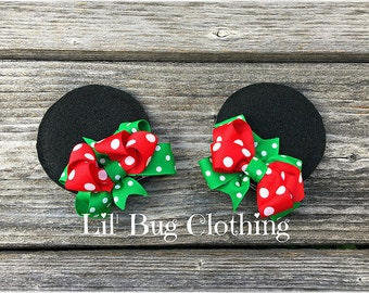 Minnie Mouse Christmas Ear Clips, Minnie Mouse Holiday Ears, Minnie Mouse Christmas Polka Dot Girls Minnie Mouse Ears Hair Clip Accessories