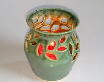 Green Votive Candle Holder or Luminary with Leaf Sprigs- Wheel Thrown and Altered Pottery