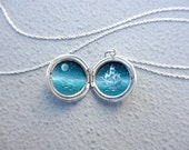 Tiny Oil-Painting in Sterling Silver Locket Necklace, Ghost Ship in Moonlight