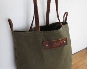 Repurposed Olive Drab Rustic Tote Book bag Minimal Reused Army canvas Small Tote bag leather handles Boho rugged Simple Natural Style