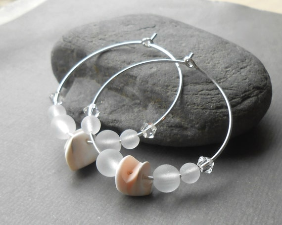 Faux Sea Glass Shell Hoop Earrings, Sterling Silver Beach Jewelry, Beaded Hoops