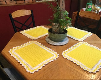 Sunshine yellow and white crochet table placemats