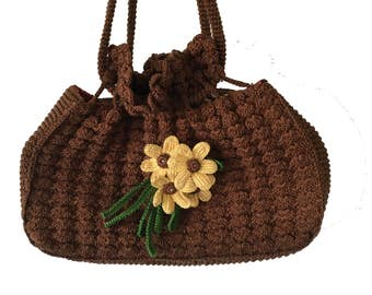 Vintage Corde Purse, Brown Crochet Handbag with Wired Flowers, Drawstring with Puckered Popcorn Knit and Fully Lined