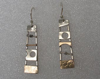 Mixed  Metals Ladder Earrings w Cut Out Circle