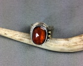 Hessonite Garnet Adjustable Ring one of a kind ring 18k gold accents deana albers handmade