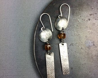 Textured Drop Earrings with Hessonite Garnet deana albers handmade one of a kind