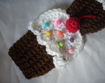 """Cupcakes Scarf - Chocolate White - Sprinkles 3D Cherry - crochet- scarf 70"""" long- chocolate cake white frosting - Super Soft - Ready To Ship"""