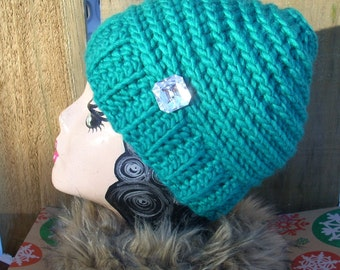 Bun Beanie - Pony Tail Hat - Messy Bun Hat - Womens Beanie - Messy Hair Hat - Teal Greenery Chunky yarn - FREE laundry bag - Ready To Ship