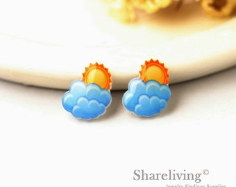 4pcs (2 pairs) Mini Weather Resin Charm / Pendant,  Stud Earring, Laser Cut Tiny Sun & Cloud Perfect for Earring / Rings - YED006R