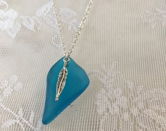 Sea Glass deep aqua turquoise with silver feather charm glass pendant, beach glass inspired turquoise glass