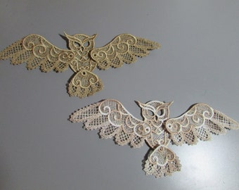 Embroidered Owl Lace Applique with moving parts