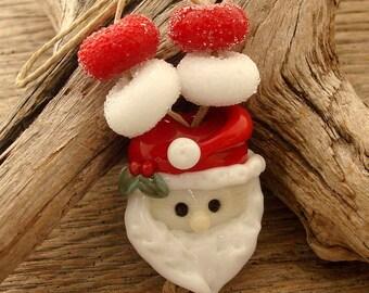SANTA - Handmade Lampwork Focal Bead/Pendant with four Sugar Beads - Earring Pair - Christmas Beads - #3