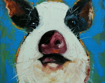 Pig painting 255 12x12 inch original oil painting by Roz