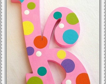 Polka Dot Letters, Wood Letters, Wall Letters, Hanging  Letters, Custom Play Wall Letters, Wall Art, Custom Play Sign, Price Per Letter