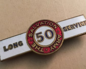 Antique Salvation Army Service Pin Bar    50 Year Salvation Army Service Pin Bar   Enamel and Brass Salvation Army Service Pin Bar