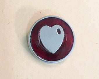 Vintage Heart Pin  Enamel Design Heart Pin  Wonderful Valentine Heart Token Pin  Vintage Valentine Pin