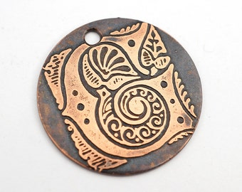 Handmade copper G charm, round flat etched spiral letter, 25mm