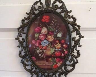 Vintage Oval Frame, Bubble Glass Frame, ornate frame, convex glass, oval photo frame, metal picture frame, boho decor, Italy picture frame