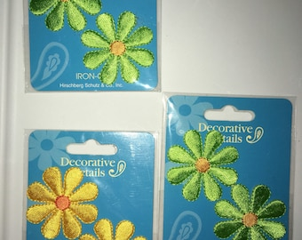 Vintage 90s Three Sets of Iron-on Daisies from 'Decorative Details - 6 in total (4 lime 2 yellow)