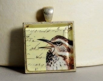 Vintage Bird Collage Pendant - Bird Pendant