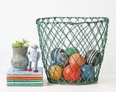 Vintage Green Basket, Industrial Metal Wire Basket
