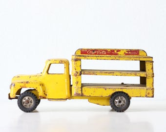Vintage Coca Cola Truck, Yellow Toy Truck, Buddy L, 1950s