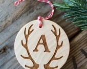 RESERVED Personalized Antler Ornament, Hunting Ornament, Rustic Ornament, Hunter