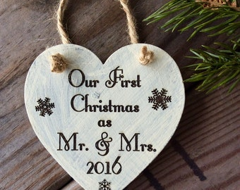 Our First Christmas as Mr. and Mrs. Ornament, Newly Wed Ornament, Wedding Gift, Christmas Wedding Gift