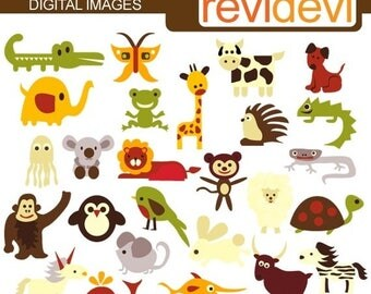50% OFF SALE Alphabet Animals clipart - Retro ABC Animals - Digital Images - Kawaii cute clipart - Commercial use, instant download