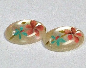 VINTAGE  Mother of Pearl Cabochon Hand Painted FLOWERS 14x10mm pkg2 shl38