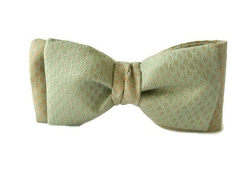 Green Tan Mens  Bow Tie , Clip-On Pre Tied Bowtie , Gentleman's Tie , Guys Gift ,  4