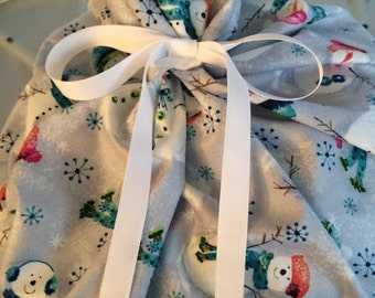 Large Christmas Gift Bag 19 inches wide x 30 inches tall - Reusable Eco-Friendly Cotton Fabric