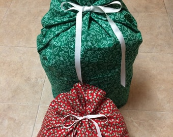2 Christmas Gift Bags 20 inches x 36 inches and 18 inches x 22 inches - Reusable Eco-Friendly Cotton Fabric