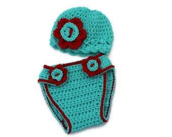 Newborn diaper cover,  baby diaper cover, crochet diaper cover, newborn photo prop, Crochet baby hat, newborn baby hat
