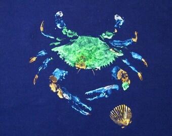 GYOTAKU fish Rubbing Blue Crab 8.5 X 11 Fisherman Gift quality Salt Water Art Print by artist Barry Singer