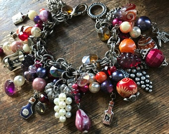 Wine Lover Chunky beaded Charm Bracelet - purple, merlot, orange, rust, pearls, made with new and vintage STUFF, gift for her, grapes