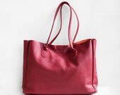Cranberry Leather Shopper, Leather Tote Bag, Soft Leather Bag, Red Leather Bag, Leather Shopper, Leather Bag, Leather Handbag, Red Tote