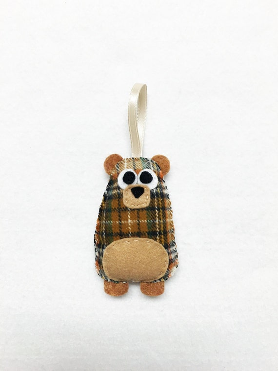 Bear Ornament, Christmas Ornament, Nicholas the Plaid Bear, Felt Ornament, Forest Animal, Woodland Decoration, Ready to Ship