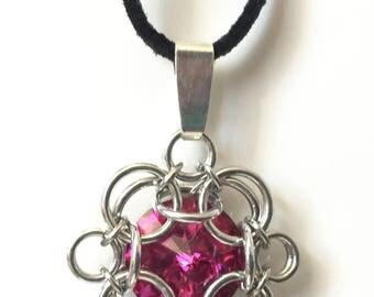 Fuschia - Chainmaille wrapped Swarovski Rivoli Pendant