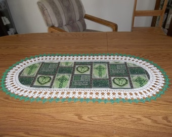 St. Patrick's Day Table Runner Bless This Irish Home 16 X 36 Centerpiece Crocheted Edge Fabric Center Table Topper Dresser Scarf Handmade