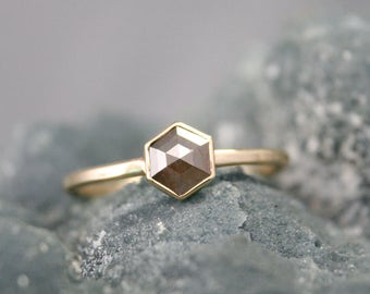 hexagon Rose cut diamond ring, silver/brown diamond, geometric engagement ring, modern wedding ring,  Rachel Wilder Handmade Jewelery